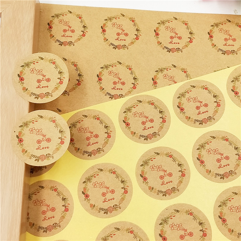 New Hot 100pcs/lot Thank You Cake Baking Seal Self Adhesive Kraft Sticker Labels Thanksgiving Gift Box/Envelope Decoration