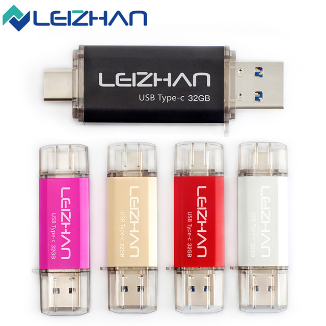 LEIZHAN Type-C OTG USB 3.0 Flash Drive 64GB Pen Drive High Speed 32G USB Stick Mini Flash Drive 16G Pendrive For Android Phone