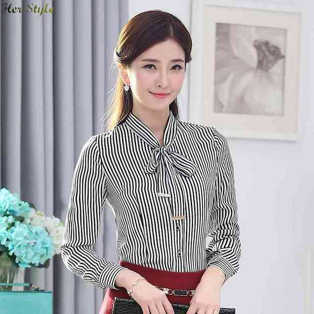 c7032477faa021 Free Shipping Gao Midi ladies chiffon long sleeve wear the new black and  white striped shirt at end of ironing equ