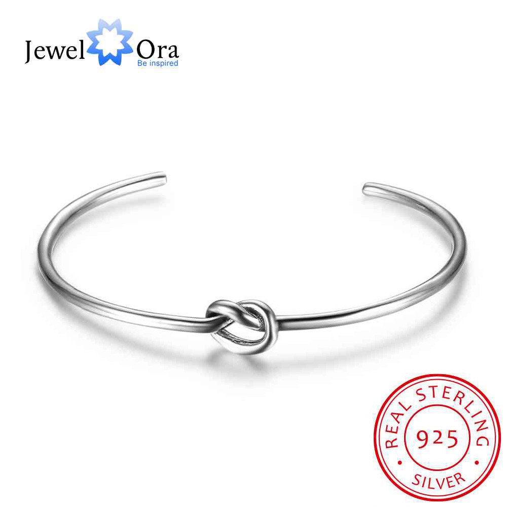 Hot Selling Women 925 Sterling Silver Bracelets Bangles Knot Design Girl Trendy Jewelry Accessories Gift (Jewel Ora BA102049)