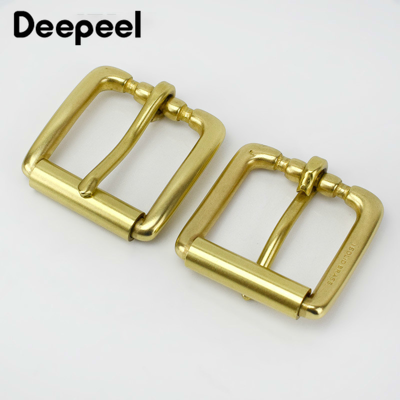 Deepeel Fashion Solid Brass Belt Buckle For Women Men Metal Pin Buckles For Belt 38-39mm DIY Leather Craft Jeans Accessories