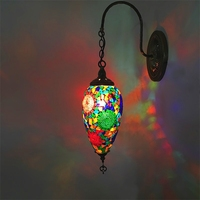 새로운 지중해 스타일 아트 데코 터키어 모자이크 벽 램프 손으로 만들어진 모자이크 유리 낭만적 인 벽 빛