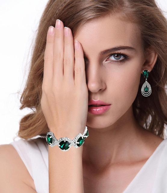 Fashion Wedding Bridal Jewelry Sets For Women Rhinestone Austrian Crystal Jewelry Set Bracelet Earrings Set Vintage Accessories