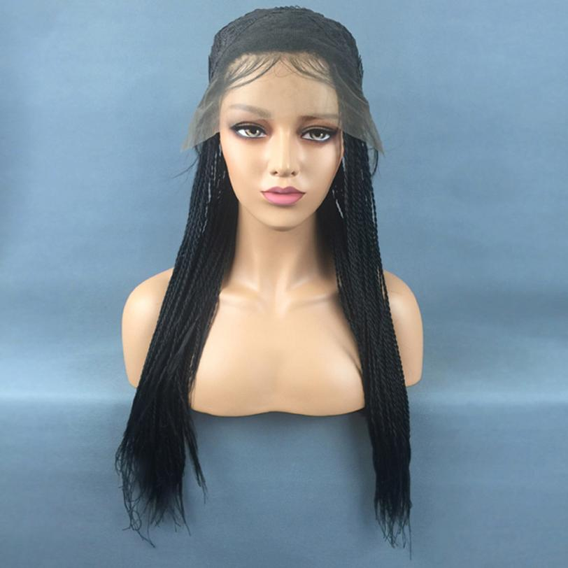 Fashion Women Synthetic Hair Braided Lace Front Wig Long Black Ombre Braid Wigs 0702 long free part bouffant deep wave lace front synthetic wig