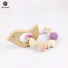 Let's Make Heart Elephant Wooden Crochet Holder Eco Friendly Baby Bird Fox Teething Dummy Chain Teether Baby Bracelet Rattle(China)