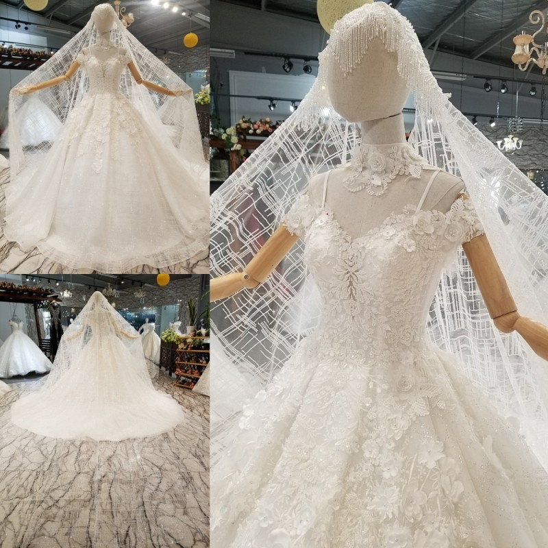 Ivory Lace Bodice Ball Gown Wedding Dress With Sheer Long: Elegant Ivory Lace Ball Gowns Wedding Dresses 2018 Vestido