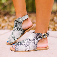 Summer Womens Ladies Roman Flat Leather Sandals Mixed Color Open Toe Shoes Casual Snake Platform sandale female zapatos de mujer