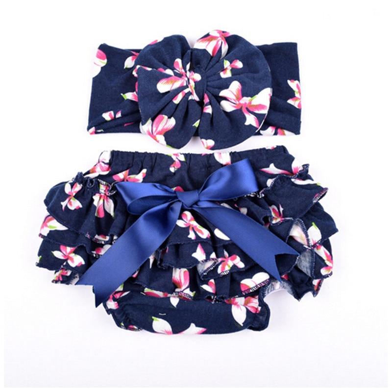 (tautropfen) Neue Angekommen Floral Baby Bloomer & Stirnband Set Neugeborenen Rüschen Windel Abdeckung Mit Headwrap Für Mädchen Baby Foto Outfits