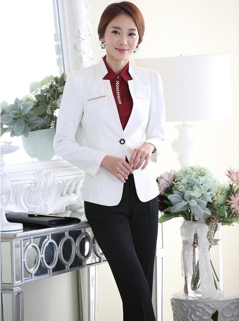 Plus Size 4XL Novidade Branco Uniforme Estilos Professional Business Suits Jaquetas E Calças Outono Inverno de Forma Magro Terninhos