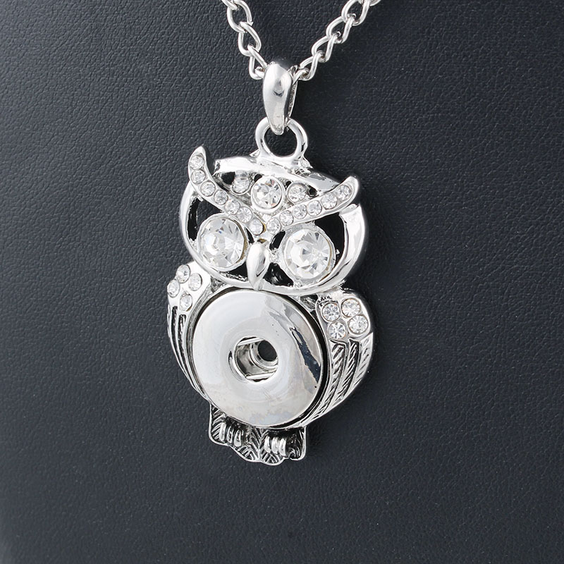 Fashion Jewelry Xinnver Snap Necklace 55CM Link Chain Classic Owl Pendant Fit DIY 18MM Buttons Fine Jewelry ZG072