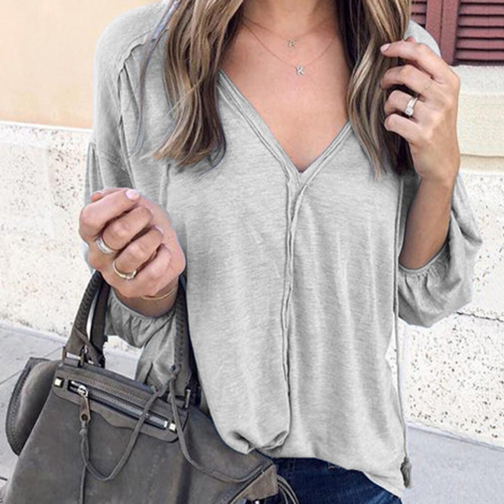 Women Loose Tops V-neck Solid Color Puff Sleeve shirt Tees Women Casual Clothes Top Summer Loose V Neck shirt