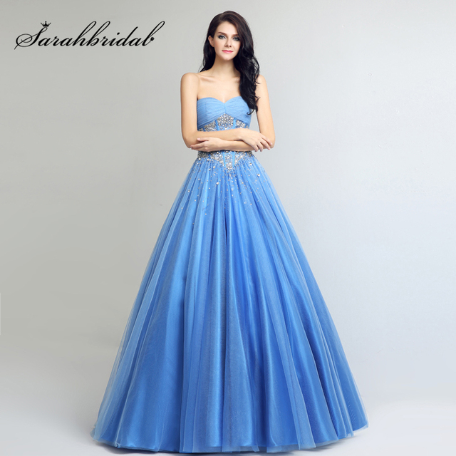 ac8518dbda8 Sweet 16 Ocean Blue Ball Gowns Quinceanera Dresses 2017 Tulle Sweetheart  Beading Sequined Lace Up Back vestidos de 15 anos LX263