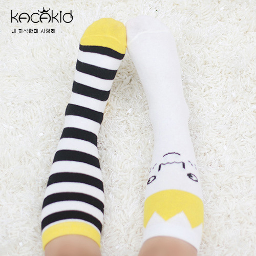 Kacakid Autumn new baby boy girl socks kids tube socks baby cartoon long socks asymmetric crown striped cotton knee socks