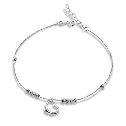 Sinya 925 Sterling silber Fußkettchen Armband mit herz charme für frauen mädchen liebhaber 2017 Valentinstag geschenk 21,5 cm + 2,5 cm Länge