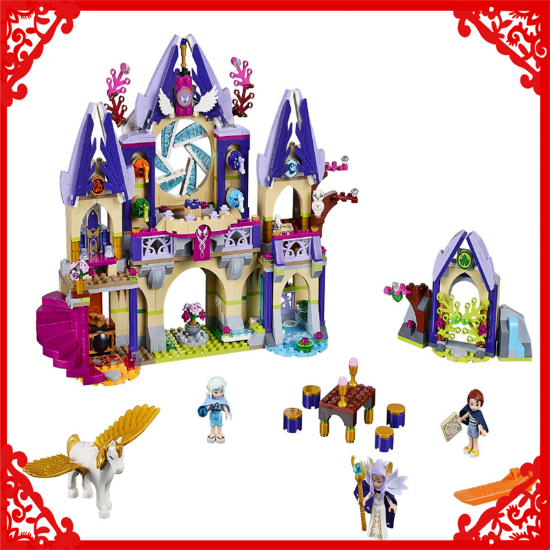 BELA 10415 Elves Skyra's Mysterious Sky Castle Building Block Compatible Legoe 809Pcs Educational  Toys For Children aiboully 10415 elves azari aira naida emily jones sky castle fortress mini building block kids bricks toys 41078