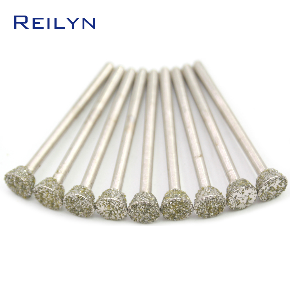 60# 3x4/5/6/8/10/12mm Emery Diamond Bit For Dremel Grinding Burr Peeling/polishing/abrasing  Jade Stone Metal Dremel Metal Bit