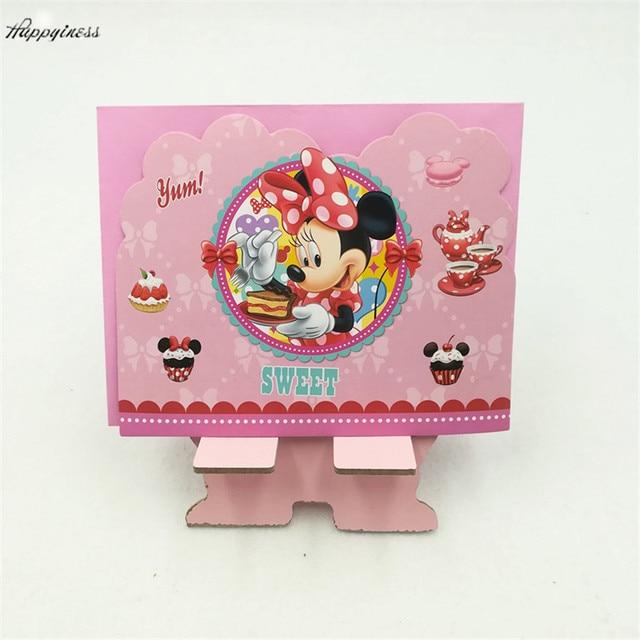 6pcs Invitation Cards6pcs Envelope Kid Cartoon Minnie Mouse
