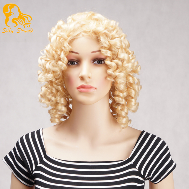 Afro Kinky Curly Synthetic Wigs Heat Resistant For Black Women Blonde Kinky Curly No Lace Wigs Ombre African American Wig Short
