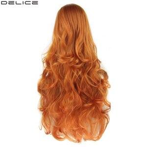 Женские разноцветные волнистые длинные парики Delice, термостойкие синтетические парики для косплея оранжевого цвета, 32 дюйма