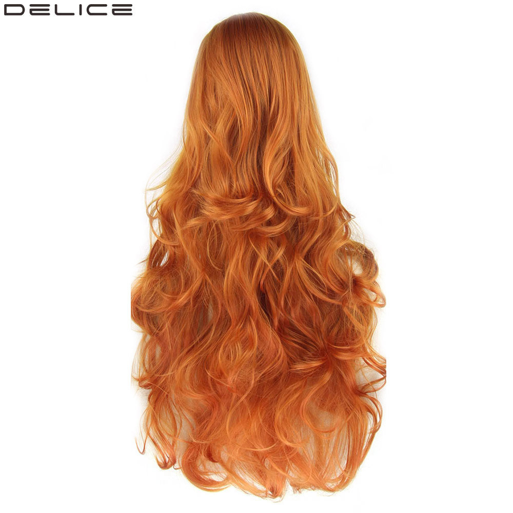 Delice 32 Multicolor Wavy Long Wig For Women Orange Full Heat Resistant Synthetic Cosplay Wigs image