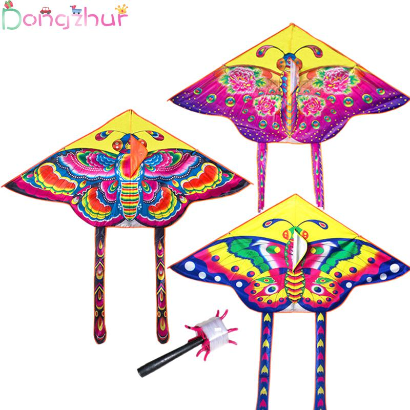 1pcs Random Color Little Butterfly Printing Classical Triangle Kite Outdoor Toys Flying Children Colorful Kite