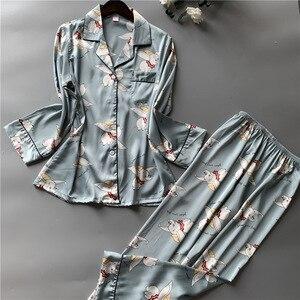 Image 1 - Printing Fashion Women Pajamas Sweeet Long Sleeve Cardigan Twinset Sleepwear