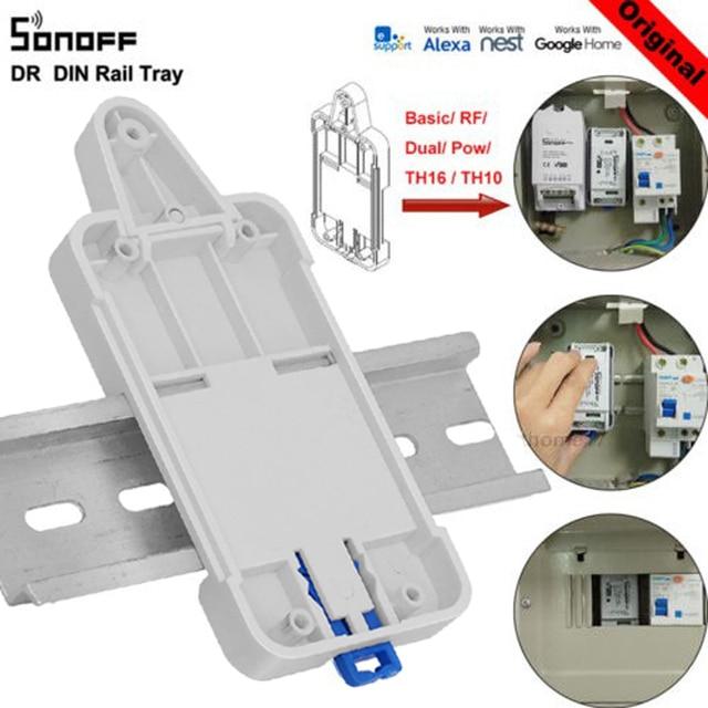 SONOFF DR bandeja de carril DIN soporte de carril montado ajustable para interruptor de Control remoto Wifi Sonoff básico/RF/ pow/TH10/16/Dual