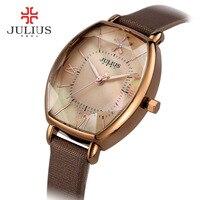 Julius Watches Women Fashion Watch 2017 Spring Brand Luxury Crystal Sparkling Glasses Fashion Leather Strap Quartz