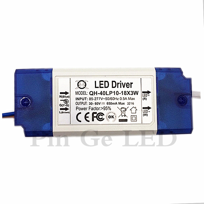 3 PCS Isolasi 20W 30W 40W 85-277V LED Driver 10-18x3W 650mA 700mA DC30-60V Tinggi PFC Power Supply Transformer untuk Lampu LED