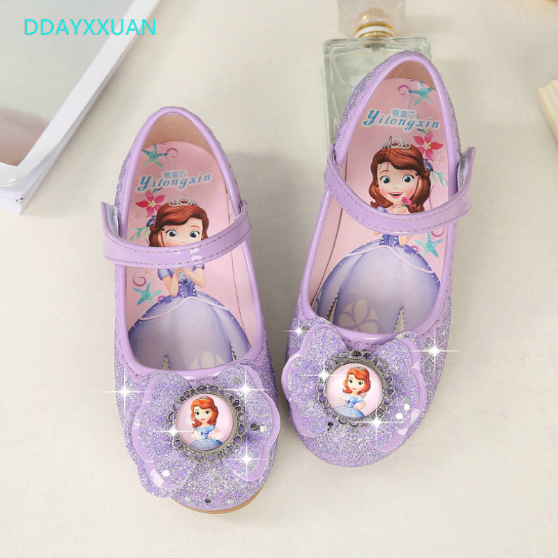 Glitter Girls Princess Shoes New Spring Summer PU Leather Printed Sofia Girl Wedding Fashion Child Kids Dress Shoes For Girls