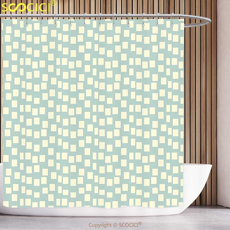Funky Shower Curtain Modern Big and Small Asymmetrical Squares Pattern Modern Geometric Tile Design Print Light Blue Cream