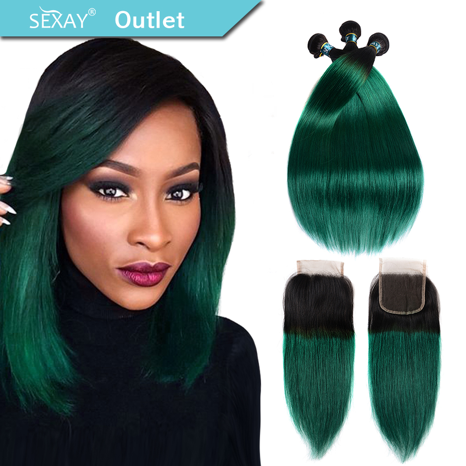 Sexay Pre-colored Ombre Bundles With Closure 3 Bundles With Closure T1b/ Green Dark Roots Turquoise Silk Straight Human Hair Non-Ironing Hair Extensions & Wigs