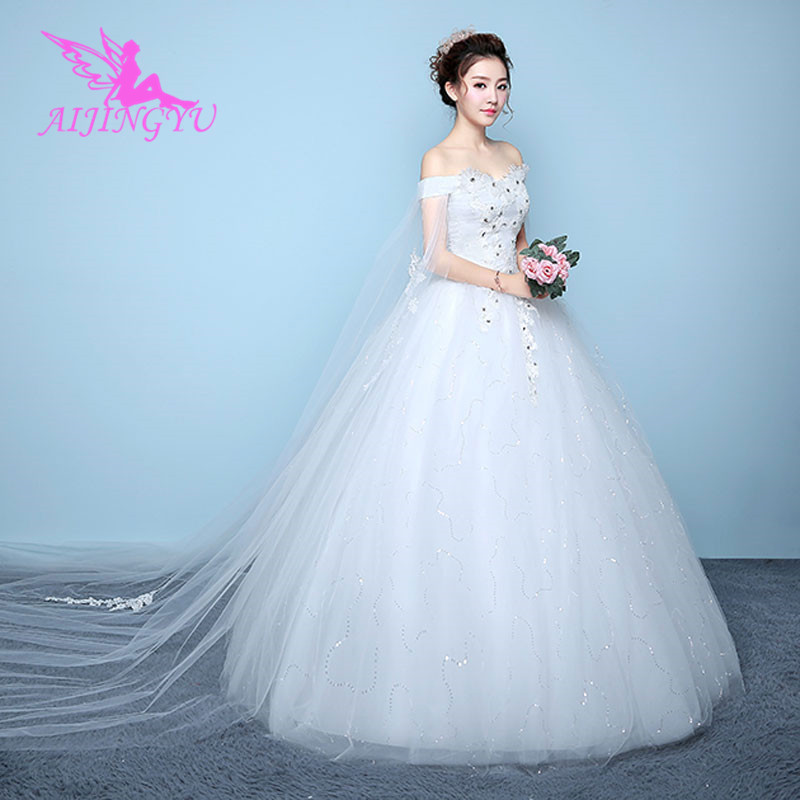 AIJINGYU 2018 Sexy Free Shipping New Hot Selling Cheap Ball Gown Lace Up Back Formal Bride Dresses Wedding Dress WK207