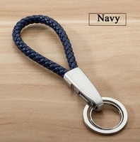 High Quality Leather Keychain Matal Key Ring Auto Creative Hand Woven Key Chain Bag Bset Gift