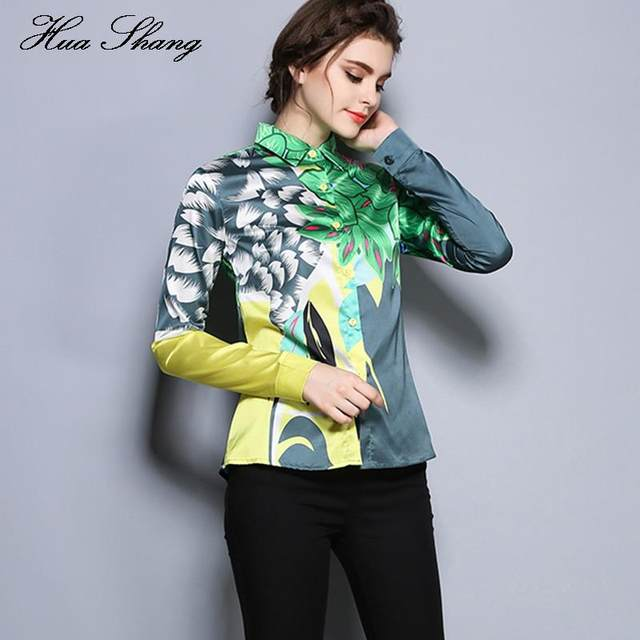 025874d5e 2018 New Floral Print Ladies Office Shirts Blouse Long Sleeve Casual Green  Floral Blouse Women Tops Chemisier. Next Level Kelly Green Womens ...