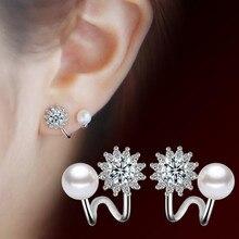 NEHZY-pendientes de plata de ley 925 con perlas de imitación, joyería de moda, con hexagrama simple, para mujeres