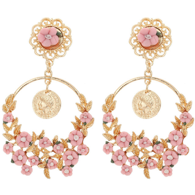 Long Women s Fashion Earrings White Pink Small Flower Leaf Earrings Gold  Coin Round Stud HOOP Big Earrings For Women Girls 074f6b9b85