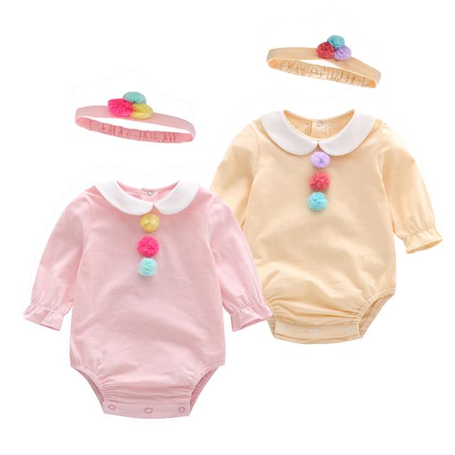 Auro mesa novo 2017 roupas bebê recém-nascido bodysuit menina com headband baby girl floral