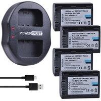 4Pcs 2000mAh NP FH50 NP FH50 Batteries + Dual USB Charger for Sony A230 A330 A290 A390 DSC HX1 HX100 HX200 HDR TG1E TG3 TG5 TG7