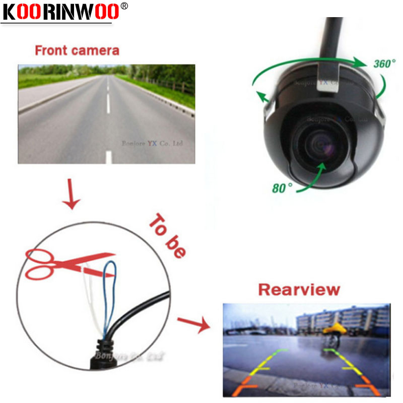 Koorinwoo HD de visión nocturna Cámara de visión trasera de 360 grados Cámara delantera de la cámara Vista frontal Lado de marcha atrás Cámara de reserva Asistencia