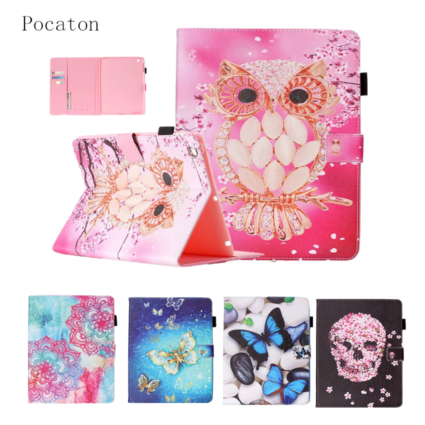 Case for iPad 2 3 4 9.7 inch,Pocaton PU Leather Soft TPU Cover owl Colorful Flip Smart cover for iPad2 tablet Protector Shell