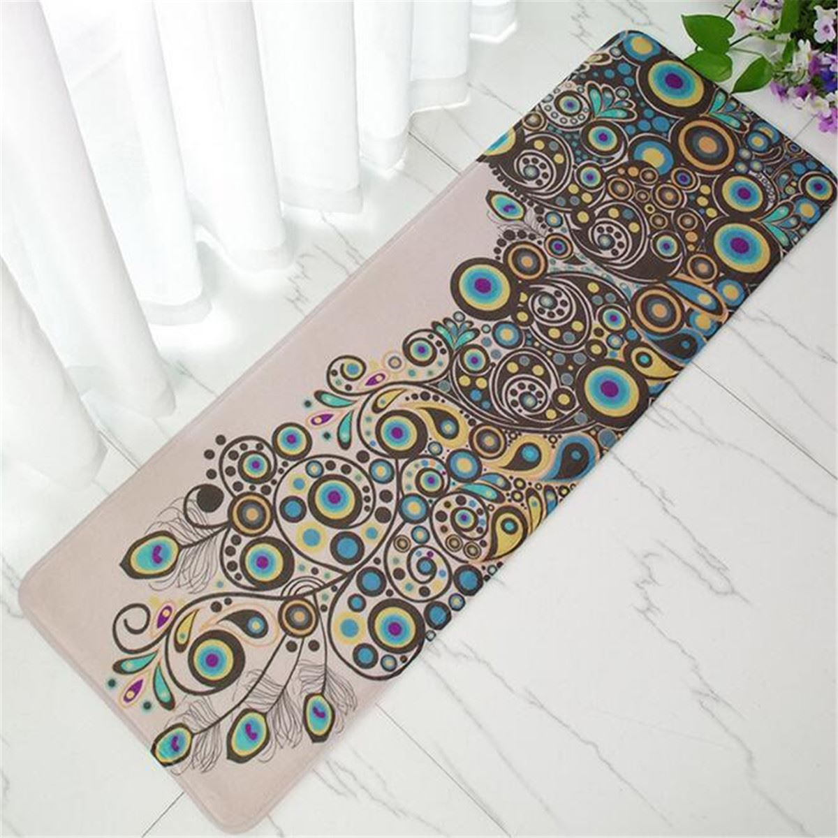 Peacock bathroom rug - Peacocks Bamboo Wood Floor Mat Print Bathroom Carpet Entrance Doormat Rug Anti Slip Rectangular Bedroom