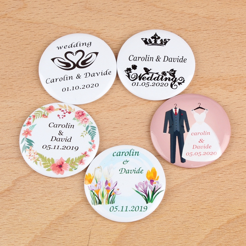 30pcs Personalized Bride Groom name date Customized Make Up Mirror Bridal Shower Gifts wedding favors and