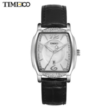 Top Women's Brand Watch Black Leather Strap Quartz Watches Diamond Tonneau Shape Dial Auto Date Original Ladies Watches W030