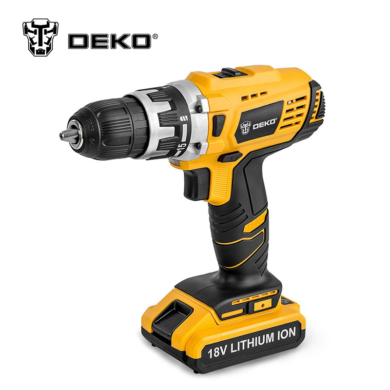 DEKO GCD18DU/2 18V DC Lithium-Ion Battery Cordless Drill/Driver Power Tools Screwdriver Electric Drill with Battery Included eleoption 2pcs 18v 3000mah li ion power tools battery for hitachi drill bcl1815 bcl1830 ebm1830 327730