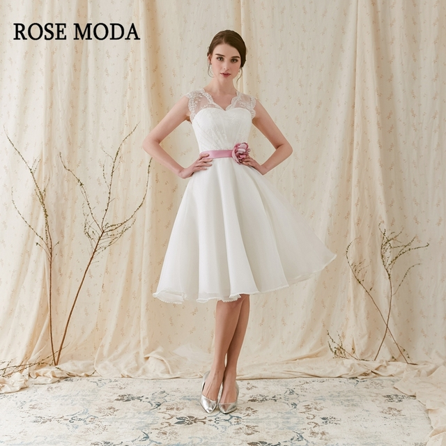 Rose moda fashion short wedding dress 2018 with pink flower sash v rose moda fashion short wedding dress 2018 with pink flower sash v neck knee length beach junglespirit Image collections