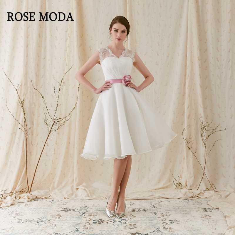 1fd1ad2e582c Rose Moda Fashion Short Wedding Dress 2019 with Pink Flower Sash V Neck Knee  Length Beach