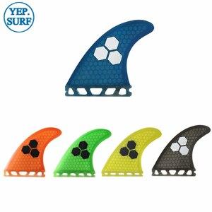 Image 1 - 2019 yeni sarı/mavi/turuncu/gri/yeşil renk gelecek G5 Fin fiberglas yüzgeçleri sörf petek Quilhas kürek kurulu sörf tahtası yüzgeçleri