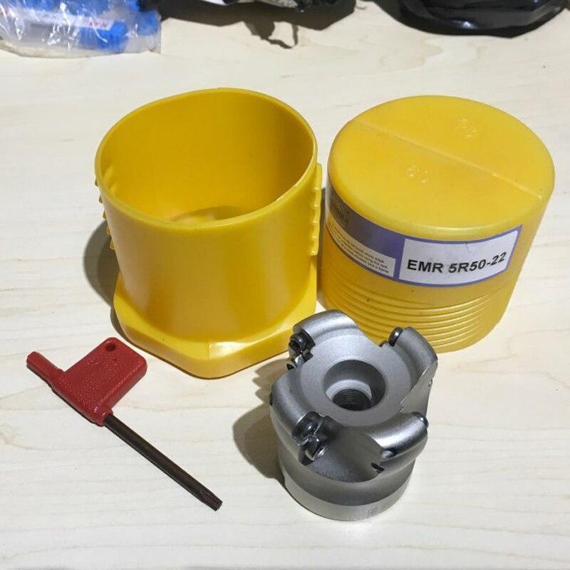 1 pz 4 Flauto EMR 5R-50-22 Viso End Mill Cutter Strumento di Fresatura con T15 Chiave Per Il Taglio Pesante Strumento