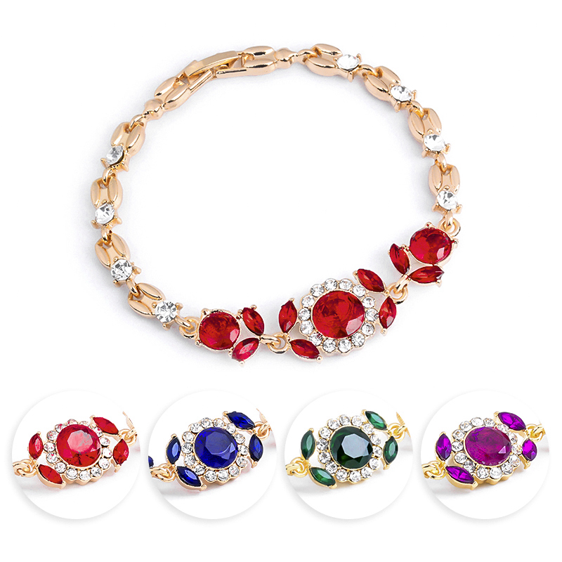MISANANRYNE Fashion Women/Lady's Gold Color CZ Stones Austrian Crystal Flower Bracelets & Bangles Jewelry Nice Shipping